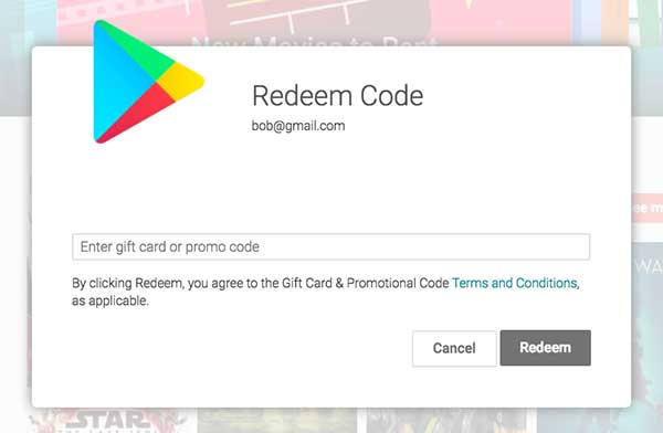 how to redeem google play gift card code