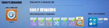 daily login rewards for free v bucks