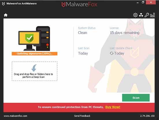 malwarefox interface